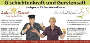 Gerstensaft und G'schichtenkraft Erzählkünstler Rainer Teichmann und Bierversteherin Barbara Teichmann