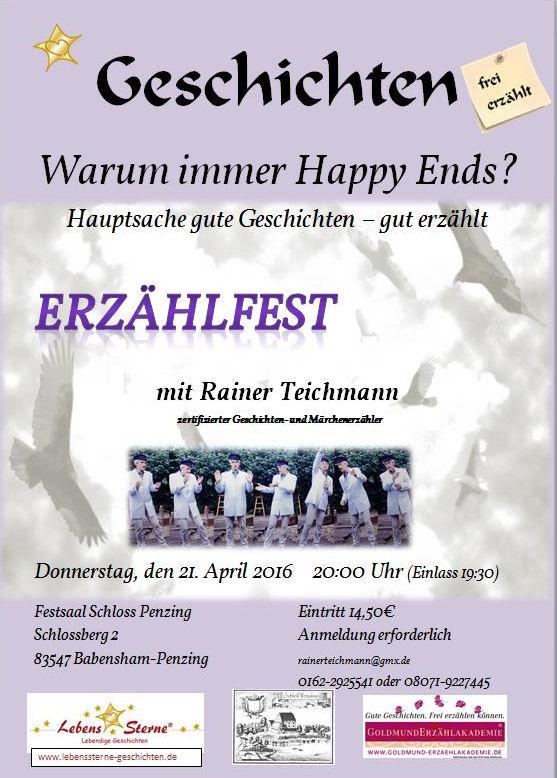 Rainer Teichmann Erzählkünstler aus Wasserburg mit Erzählfest in Schloss Penzing