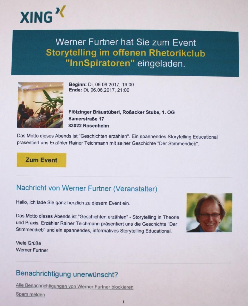 Erzählkünstler Rainer Teichmann aus Wasserburg, Lebenssterne in Rosenheim