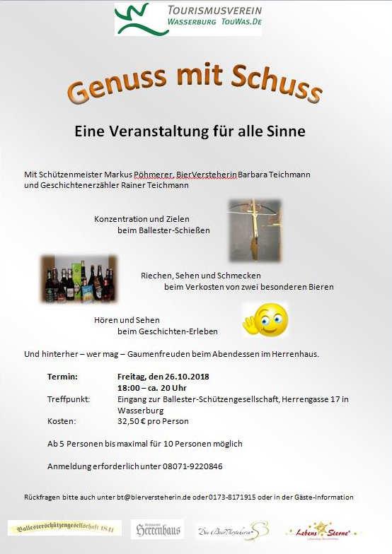 Genuss mit Schuss in Wasserburg. Mit Geschichtenerzähler Rainer Teichmann Lebenssterne und der Bierversteherin Barbara Teichmann. Im Herrenhaus mit der Ballesterschützengesellschaft.
